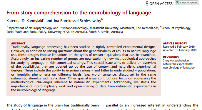 New paper: From story comprehension to the neurobiology of language